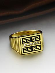 preiswerte -Herrn Kubikzirkonia Zirkon / vergoldet Verlobungsring / Ring - Quadratisch Klassisch / Retro / Modisch Gold Ring Für Hochzeit / Party /