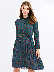 cheap -Sign Spot Floral base skirt Slim was thin Korean version of the long section long-sleeved pleated dress female wild tide