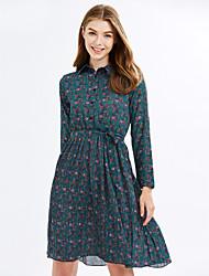 baratos -assinar ponto saia de base floral fina demonstrou versão coreana fina do longa seção vestido plissado maré selvagem feminino de manga