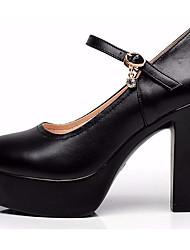 preiswerte -Damen Schuhe Leder Frühling Herbst Pumps High Heels Blockabsatz Spitze Zehe für Büro & Karriere Weiß Schwarz Schwarz und Gold