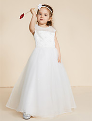 cheap -Ball Gown Floor Length Flower Girl Dress - Lace Tulle Sleeveless Jewel Neck with Beading Lace by LAN TING BRIDE®
