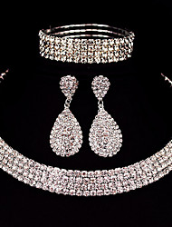 cheap -Women's Rhinestone Jewelry Set 1 Necklace / 1 Pair of Earrings / 1 Bracelet - Classic / Basic / DIY Square Silver Jewelry Set For