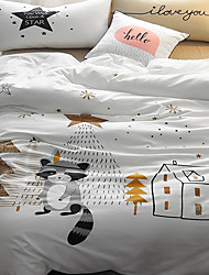 2017 newest fashion bedding set 4pcs for twin size fox tree printed cartoon kids duvet cover set bedsheet pillowcase