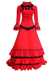 abordables -Epoque Médiévale Victorien Costume Femme Robes Costume de Soirée Bal Masqué Rouge Vintage Cosplay Coton Manches Longues Long
