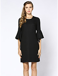 SHE'SWomen's Casual/Daily Work Simple Street chic Shift DressSolid Round Neck Knee-length Short Sleeve Polyester Summer Low Rise Inelastic