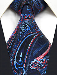 cheap -CXL8 Extra Long Unique Classic Mens Neckties Dark Blue Red Abstract 100% Silk Fashion Business Casual For Men