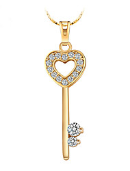 24K Gold Plated Heart Key Chain Necklace Pendant for Party Birthday Women's Gift