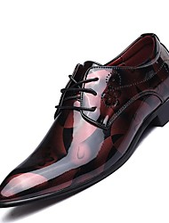 Men's Shoes Real Leather All Seasons Comfort Oxfords For Casual Silver Red Blue