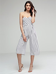 cheap -Women's Sexy Strapless Striped Casual Wide Leg Flare Trousers /Pants / Jumpsuits