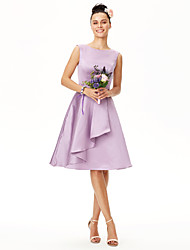 cheap -A-Line Jewel Neck Knee Length Satin Bridesmaid Dress with Sash / Ribbon Pleats by LAN TING BRIDE®