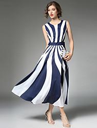 Linea A Vestito Da donna-Feste Per uscire Casual Vintage Moda città Sofisticato Con stampe Collage Rotonda Maxi Senza maniche Poliestere