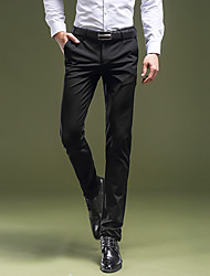 Men's Low Rise Micro-elastic Suit Chinos PantsStreet chic Vintage Simple Straight Slim Pure Color Solid