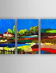 baratos -Pintados à mão Abstrato Horizontal,Nova chegada Moderno/Contemporâneo 3 Painéis Tela Pintura a Óleo For Decoração para casa
