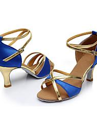 Personalizzabile Da donna Balli latino-americani Seta Sandali Per interni Tacco su misura Blu