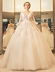 cheap -Ball Gown Plunging Neckline Floor Length Tulle Wedding Dress with Beading by Yuanfeishani