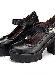 cheap -Women's Heels Formal Shoes Leather Spring Fall Casual Formal Shoes Chunky Heel Black 5in & over