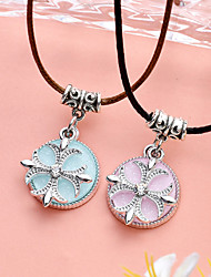 Women's Pendant Necklaces Candy Color Clover Flower PU Leather Alloy Unique Design Jewelry For Party Daily Casual 1pc