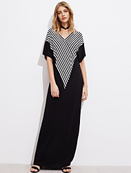 Women's Beach Going out Casual/Daily Simple Street chic Tunic Dress,Stripe Patchwork V-neck Maxi Half Sleeve Polyester Spandex All Seasons