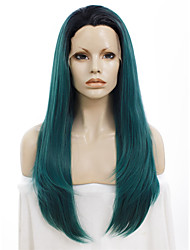 Celebritywig 24inch Synthetic Wigs Cool Dark Root Blue Green Awesome Wig for Drag Queen Wig