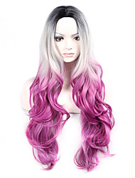cheap -Hot Selling Black To Grey To Purple Color Long Wave Women Wig Heat Resisting Syntheitc Wig