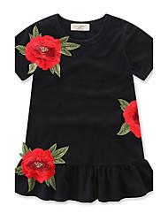 abordables -Robe Fille de Fleur Mode Coton Eté Manches Courtes Volants Noir