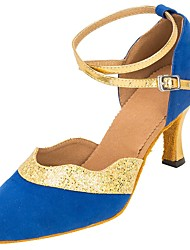 "cheap -Women's Modern Flocking Sparkling Glitter Sandal Heel Professional Sequin Buckle Sparkling Glitter Customized Heel Blue 1"" - 1 3/4"" 2"" -"