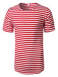 T-shirt Da uomo Feste Da sera Casual Per uscire Semplice Primavera Estate,A strisce Rotonda Cotone Altro Manica corta