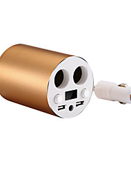 Car Mobile Phone Charger 2 USB Port 2 Cigar Lighter Expansion 12-24V 3.1A LED Voltage Monitor Display Vehicle Charge Cup Tub (Cable Length 0.5m 1.5Ft)