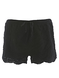 Women's Mid Rise Inelastic Shorts Pants,Cute Slim Pure Color Lace Solid Lace