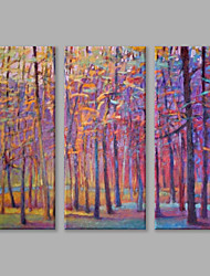IARTS Oil Painting Modern Abstract The Hazy Purple Woods Set of 3 Art Acrylic Canvas Wall Art For Home Decoration