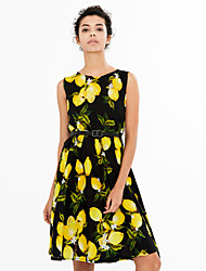 cheap -Women's Vintage Cotton A Line Dress - Fruit Lemon, Print