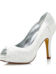 cheap -Women's Dyeable Wedding Heels Club Shoes Comfort  Shoes Silk Spring Fall Wedding Outdoor Office & Career Party & Evening Dress Stiletto Heel Ivory