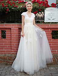 cheap -A-Line V Neck Floor Length Lace Over Tulle Custom Wedding Dresses with Appliques Sash / Ribbon by LAN TING BRIDE®