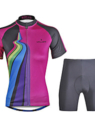 cheap -ILPALADINO Women's Short Sleeves Cycling Jersey with Shorts Bike Clothing Suits, Quick Dry, Ultraviolet Resistant, Reflective Strips, 3D