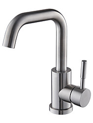 cheap -Contemporary Art Deco/Retro Modern Vessel Widespread Ceramic Valve Single Handle One Hole Nickel Brushed, Bathroom Sink Faucet