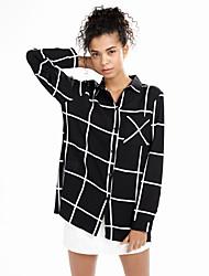 Women's Casual/Daily Simple All Seasons ShirtStriped Shirt Collar Long Sleeve Black Rayon / Polyester Thin
