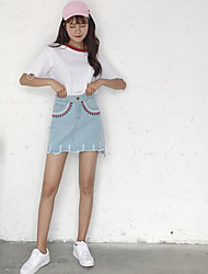 Women's Casual/Daily Above Knee Skirts A Line Solid Geometric Summer