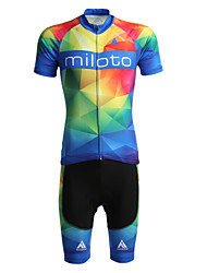 cheap -Miloto Men's Short Sleeves Cycling Jersey with Shorts - Black Bike Shorts Jersey Clothing Suits, Quick Dry, Breathable, Sweat-wicking,