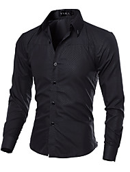 cheap -Men's Daily Casual Shirt,Solid Classic Collar Long Sleeves Cotton