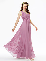cheap -Sheath / Column V Neck Floor Length Chiffon Bridesmaid Dress with Pleats Criss Cross by LAN TING BRIDE®