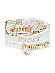 Lureme Women's Bohemian Beads Charms Multi Strand Textured Bracelet Set