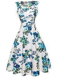 cheap -Women's Daily Beach Holiday Vintage Sheath Swing Dress,Floral V Neck Knee-length Sleeveless Cotton Polyester Summer High Rise