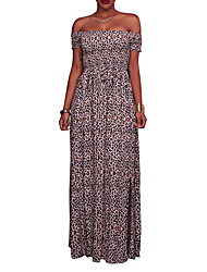 Women's Event/Party Casual/Daily Sexy Street chic Bodycon DressAnimal Print Leopard Print Split Backless Sexy Lady Boat Neck Maxi Short Sleeve