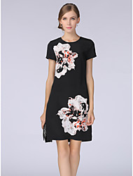 cheap -Women's Daily Work Casual Shift Dress,Floral Round Neck Knee-length Short Sleeves Polyester Summer Low Rise Inelastic Thin