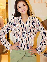 preiswerte -Damen Geometrisch Arbeit Hemd, V-Ausschnitt Polyester