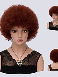 Auburn Curly Short Afro Kinky Curly High Temperature Heat Resistant Brwon Color Synthetic Wigs