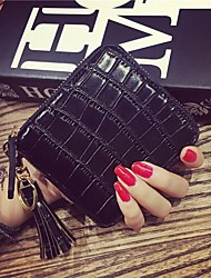 cheap -Women Bags PU Money Clip Animal Print Zipper Tassels for Office / Career Shopping Daily Casual Ceremony Office & Career All Seasons Black