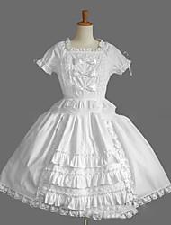 One-Piece/Dress Sweet Lolita Lolita Cosplay Lolita Dress Black White Vintage Cap Short Sleeve Short / Mini Dress For