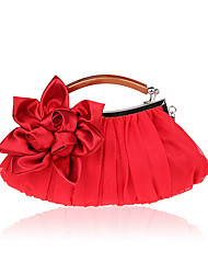 Women Bags All Seasons Polyester Evening Bag Flower for Wedding Event/Party Formal Black Silver Red Apricot Amethyst
