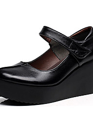 cheap -Women's Heels Basic Pump Leather Spring Fall Office & Career Basic Pump Wedge Heel Black 3in-3 3/4in
